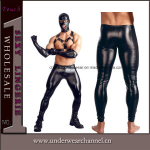 Men Black Leather Gloss Loose Leggings Pants (TCJN935) pictures & photos