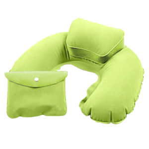 Inflatable Flocked PVC Air Travel Neck Pillow pictures & photos