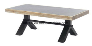 Metal Legs Concrete Top Wooden Side Square Coffee Table pictures & photos