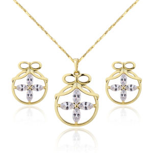 Special Shape Fine Dubai Gold Plated Endearing Jewelry Pendant Earring Sets pictures & photos