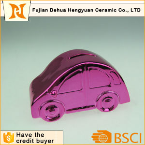 Plating Car Shaped Ceramic Coin Bank for Desktop Gift pictures & photos