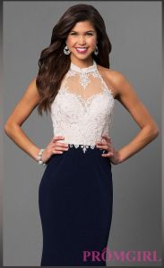 2017 Lace Long High-Neck Halter Prom Dress Pg001 pictures & photos