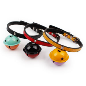 Cute Pet Accessories PU Leather Dog Collars with Bells for Cats pictures & photos