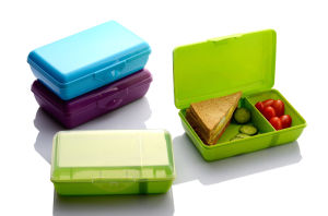 LFGB Plastic Lunch Box with 2 Compartment with Sliding Wall