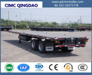 50 Tons Container Transport Semi Trailer, 3 Axle Flatbed Trailer pictures & photos