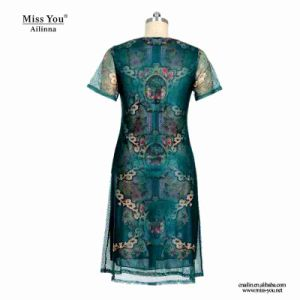 Miss You Ailinna 802075 Middle Aged Women Summer Green Mesh Dress pictures & photos