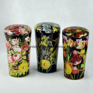 Custom Flower Vase Shape Tin Box for Tea