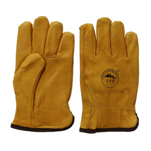 Cow Grain Leather Winter Safety Driver Gloves with Full Lining pictures & photos
