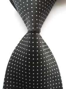 New Classic Pattern Black Blue Silver Jacquard Woven Necktie (A782) pictures & photos