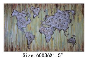 China Made Handpainted Planked World of Map Wood Art pictures & photos