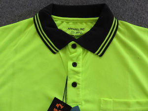 Dry Fit Cool Plus Fluorescent 100% Polyester Green Mens Polo Shirt Online pictures & photos