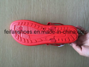 PVC Red Color Women Casual Sandals, Softable Ladies Fashion Slippers pictures & photos
