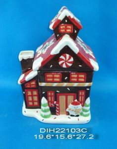 Christmas House Ceramic Hand-Painted Candy Jar pictures & photos