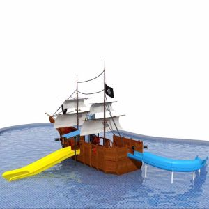 Outdoor Playground Equipment Wooden Pirate Ship Water Playground From Playground Factory (HD-5401S) pictures & photos