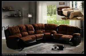 Best Selling Suede Fabric Recliner Sofa Cum Bed Brown pictures & photos