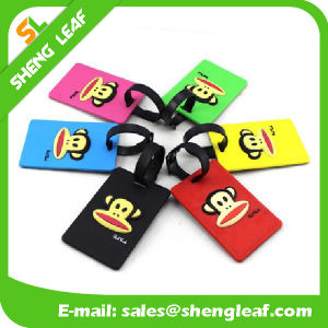 Monckey Colorful Rubber Luggage Tag with Black String (SLF-LT069)