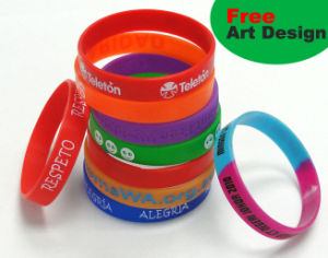Glow in Dark Silicone Bracelet with Customer Logo Design pictures & photos