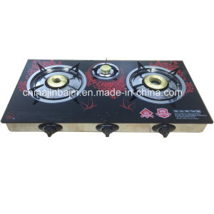 3 Burners Tempered Glass Top Stainless Steel Indian Burner Gas Cooker/Gas Stove pictures & photos