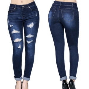 Fashion Design Women Ripped Skinny Denim Jeans pictures & photos