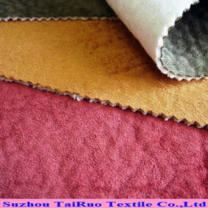 Embossed Suede Velvet Backing Fabric for Home Textile pictures & photos