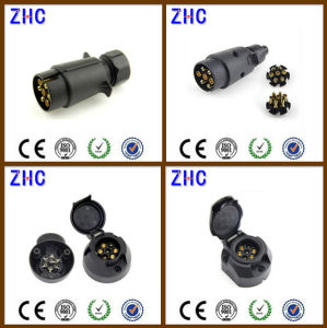 European Ce PVC Plastic 12V 24V 10A 7pin 13pin Brass Power Connecting Male and Female Vehicle Trailer Plug pictures & photos