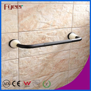 Fyeer Ceramic Base Black Bathroom Accessory Brass Towel Rack pictures & photos