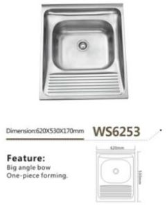 Wash Sink Stainless Steel Single Bowl with Board Ws6253 Laundry Sink