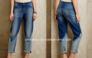 Double Color Loose Ladies Exotic Jeans pictures & photos
