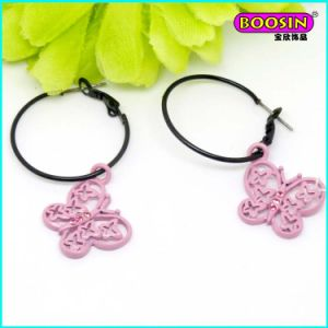 Nice Custom Wholesale Pink Enamel Butterfly Charm Hook Earring pictures & photos