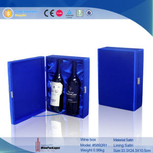 High-End Dark Blue 2-Bottle Leather Wine Box (5892) pictures & photos