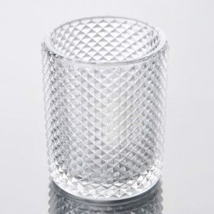 Clear Glass Candle Holder with Embossing Lump pictures & photos