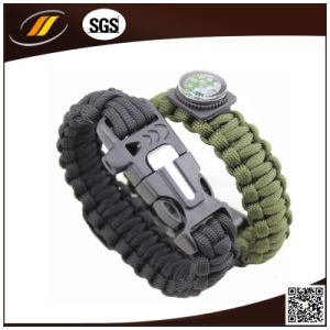Outdoor Survival 7 Strands 550 Paracord Bracelet with Flint Fire Start and Whistle (HJ6067)