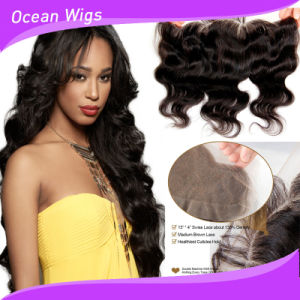 8A Grade 100% Brazilian Virgin Remy Body Wave Human Hair Lace Frontal Closure pictures & photos