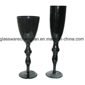 Hand Made Delicate Black Color Long Stem Wine Glass (B-WG055) pictures & photos