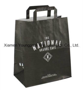 Custom Printed Flat Handle Takeaway Kraft Paper Bag pictures & photos