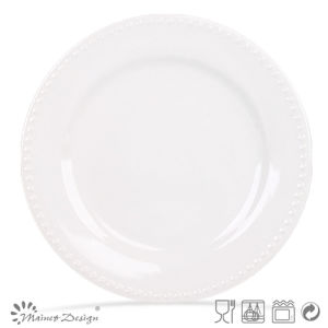 "Embossed White Color 10.5"" Dinner Plate pictures & photos"