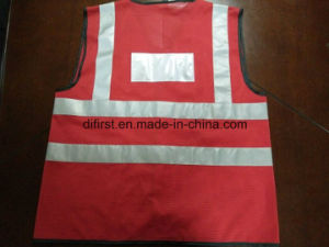 Safety Vest Red 100%Polyester Knitting Fabric with ID Pocket pictures & photos