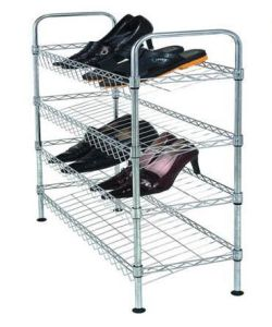 Slanted 3 Shelves DIY Slanted Chrome Plated Metal Wire Frame Shoe Rack Stand pictures & photos
