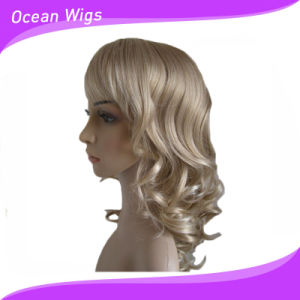 Women Synthetic Wigs Short Blonde Wigs with Wavy Style Full Bangs Natural Hair Wigs Cheap Wigs High Qualtiy pictures & photos