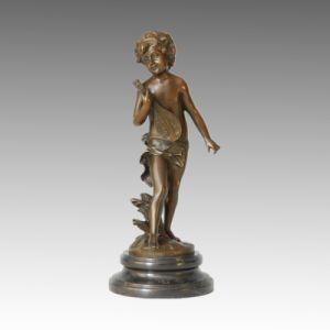Kids Statue Boy and Lute Bronze Sculpture, Auguste Moreau TPE-303