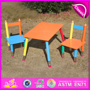 2015 MDF Kids Study Desk Chair in Pencil Design, Portable Folding Table Chair Set, Hot Sale Wooden Study Table and Chair Wo8g106 pictures & photos
