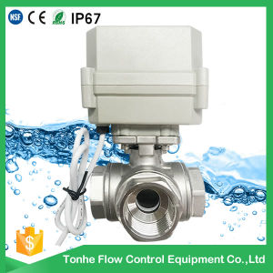 3-Way Horizontal L-Type Electric Control Stainless Steel Valve Motorized Actuated Water Ball Valve pictures & photos