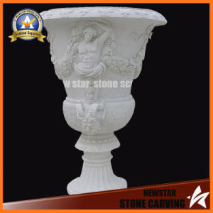 Hot Sale Garden Stone Carving Flower Pot Stand White Color (NS-11P7) pictures & photos
