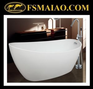 Sanitary Ware Shinning White High-Heeled Acrylic Bathroom Bathtub with Overflow (9012) pictures & photos