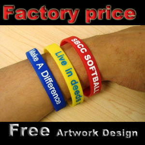 Promotional Silicone Wristband with Emboss or Printing Logo pictures & photos