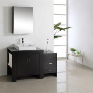 Solid Oak Wood Floor Mounted Single Basin Bathroom Vanity Cabinet pictures & photos