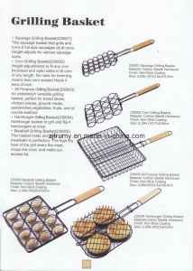 Folding BBQ Grill Basket for Camping with Wood Handle pictures & photos