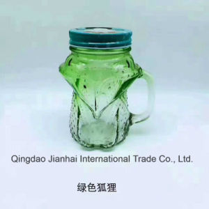 Glass Craft Cute Fox Shape Mason Jar Glass Bottle with Handle pictures & photos