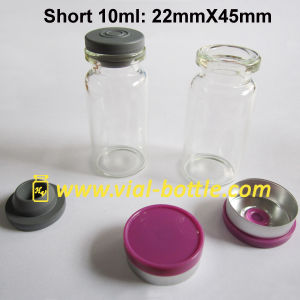 Short 10ml Clear Injectable Glass Bottle Kits Stoppers and Flip Top Caps Lavender Color pictures & photos