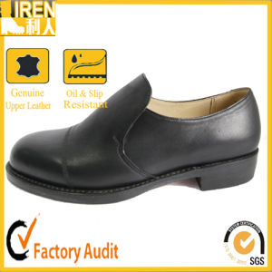 Black Genuine Cow Leather Army Police Shoes Military Office Shoes pictures & photos